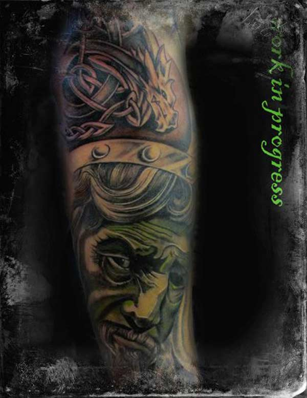 Tatouage Londres The Circle.green visage homme vert