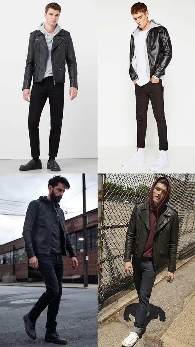 Sweats à capuche pour hommes avec vestes en cuir Inspiration de tenue Lookbook